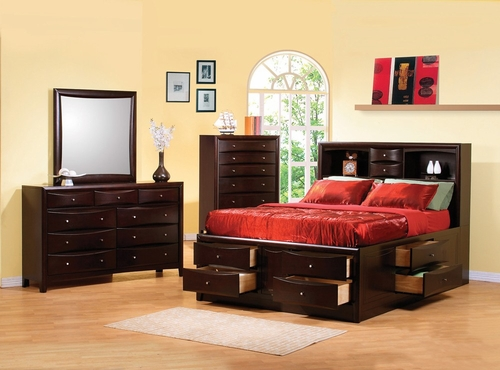 Phoenix California King Size Bedroom Furniture Set in Rich Deep Cappuccino - Coaster - 200409KW-BSET