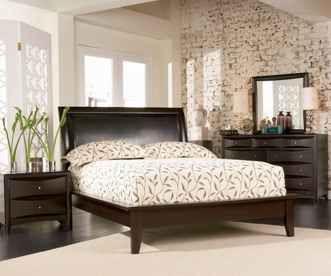 Phoenix California King Size Bedroom Furniture Set in Rich Deep Cappuccino - Coaster - 200410KW-BSET