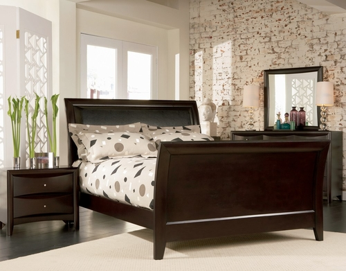 Phoenix California King Size Bedroom Furniture Set in Rich Deep Cappuccino - Coaster - 200411KW-BSET
