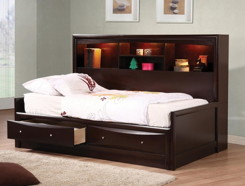 Phoenix Daybed with Storage in Cappuccino - 400410T