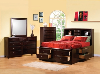 Phoenix Eastern King Size Bedroom Furniture Set in Rich Deep Cappuccino - Coaster - 200409KE-BSET