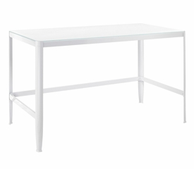 Pia White Table with White Glass - LumiSource - TB-CF-PIA-W-W