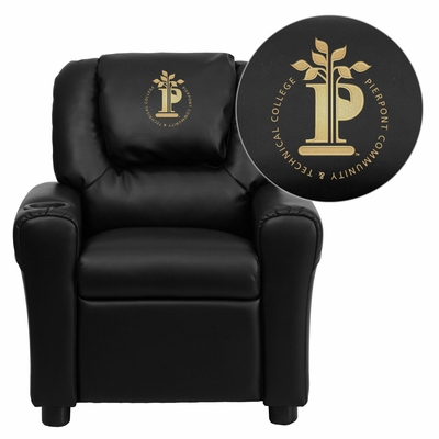 Pierpont Community & Technical College Black Vinyl Kids Recliner - DG-ULT-KID-BK-41060-EMB-GG