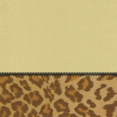 "Pillow in Sand + Leopard - 18"" x 18"" L.X.E.Solid/Poly-Suede - 33-1202-4004"