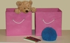 Pink 2PC Folding Storage Bins Set with White Rope Handles