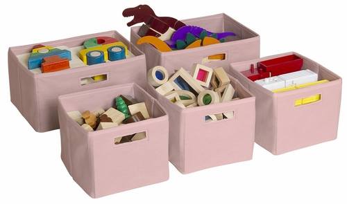 Pink Storage Bins (Set of 5) - Guidecraft - G85709