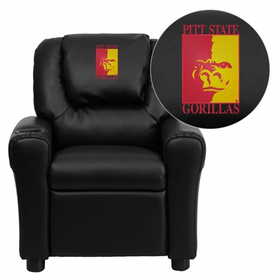 Pittsburg State University Gorillas Embroidered Black Vinyl Kids Recliner - DG-ULT-KID-BK-41061-EMB-GG