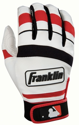 Player Classic II Series Adult Batting Glove White / Red - Franklin Sports