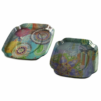 Playful Paisley Serving Trays (Set of 2) - IMAX - 94239-2