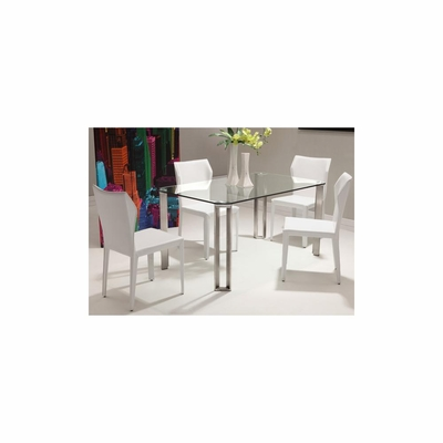 Plume 5pc Glass Dining Table Set - Zuo