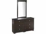 Pocono 6 Drawer Double Dresser with Mirror - Nexera Furniture