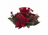 Poinsettia and Berry Candleabrum - Nearly Natural - 4920