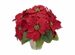 Poinsettia with Ceramic Vase Silk Flower Arrangement - Nearly Natural - 1268