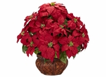 Poinsettia with Decorative Planter Silk Arrangement - Nearly Natural - 1265