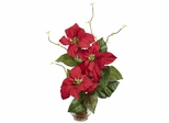 Poinsettia with Fluted Vase Silk Flower Arrangement - Nearly Natural - 1263