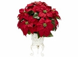Poinsettia with Metal Planter Silk Flower Arrangement - Nearly Natural - 1267