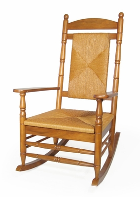 Porch Rocker Chair with Woven Seat and Back in Oak - R-53518