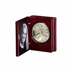 Portrait Book Table Clock in Rosewood Hall - Howard Miller
