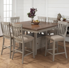 Pottersville 7PC Counter Height Dining Set in Antique Gray - 771-54T