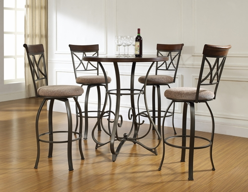 Powell 5 Pc Hamilton Pub Table Set with (4) 697-481 Swivel Bar Stools
