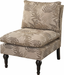 Powell Armless Accent Chair with Natural Floral Pattern