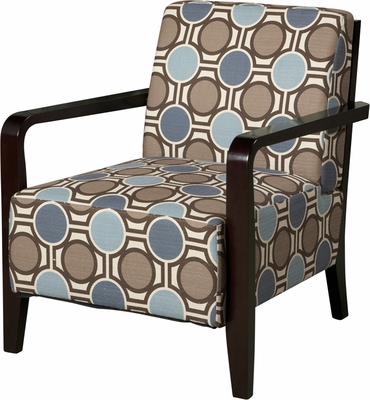 Powell Bentwood Arm Accent Chair with Brown, Tan & Blue Patterned Fabric