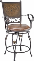Powell Big & Tall Copper Stamped Back Counter Stool with Arms