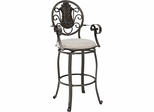 Powell Big & Tall Scroll Medallion Back Bar Stool with Arms