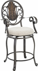 Powell Big & Tall Scroll Medallion Back Counter Stool with Arms