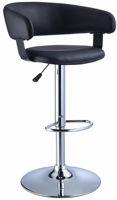 Powell Black Faux Leather Barrel & Chrome Adjustable Height Bar Stool