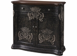 Powell Black Hand Painted 1 Drawer, 2 Door Cabinet