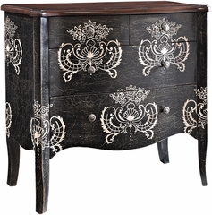 Powell Black with White Print 4 Drawer Hall Chest