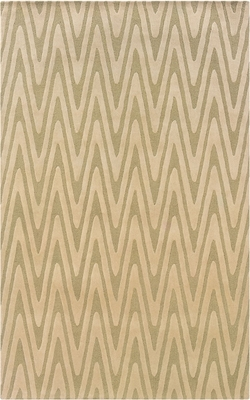 Powell Bombay Rug Green Chevron Hand Tufted 100% New Wool
