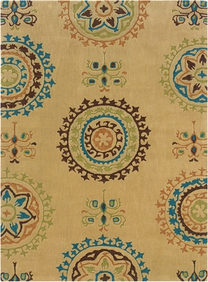 Powell Bombay Rug Suzani Cream Open Field Design