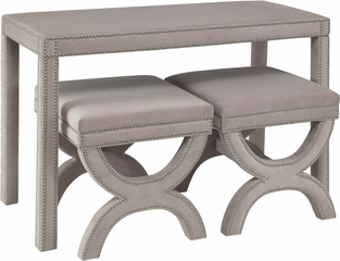 Powell Fabric Desk with Nailhead and 2 Ottomans