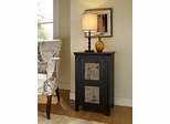 Powell International 1 Door End Table, Black