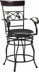 Powell Metal Big & Tall with Leaves Counter Stool with Arms