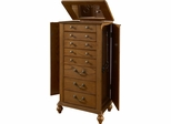 Powell Oak Veneer / White Ash Burl Jewelry Armoire
