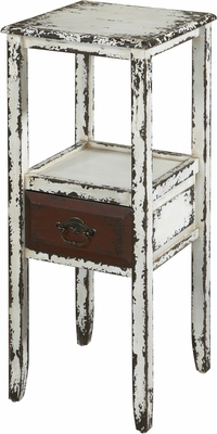 Powell Parcel White 1 Drawer Accent Table