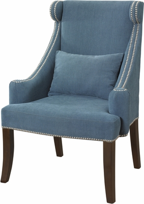 Powell Peacock Contemporary Wingback with Chrome Nailhead