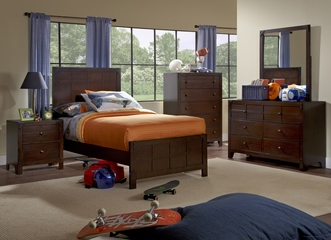 Powell Summerfield Twin Size Bedroom Set - Dark Walnut