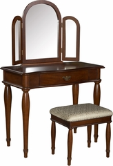 Powell Woodland Cherry Trifold Vanity, Mirror & Bench