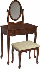 Powell Woodland Cherry Vanity, Mirror & Bench