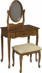 Powell Woodland Oak Vanity, Mirror & Bench