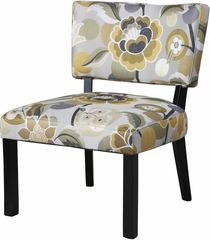 Powell Yellow & Gray Floral Accent Chair