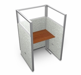 "Privacy Cubicle Panel Station, 1X1 Layout, 63""H, 36""W, Polycarbonate Panel Tops - OFM - T1X1-6336-P"