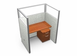 "Privacy Cubicle Panel Station, 1X1 Layout, 63""H, 48""W, Polycarbonate Panel Tops - OFM - T1X1-6348-P"