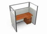 "Privacy Cubicle Panel Station, 1X1 Layout, 63""H, 60""W, Polycarbonate Panel Tops - OFM - T1X1-6360-P"