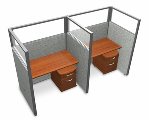 "Privacy Cubicle Panel Station, 1X2 Layout, 63""H, 48""W, Polycarbonate Panel Tops - OFM - T1X2-6348-P"