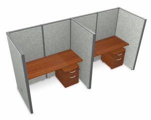 "Privacy Cubicle Panel Station, 1X2 Layout, 63""H, 60""W, Vinyl Panels - OFM - T1X2-6360-V"